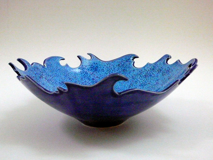 Pottery Ceramic Artwork Wave Bowl