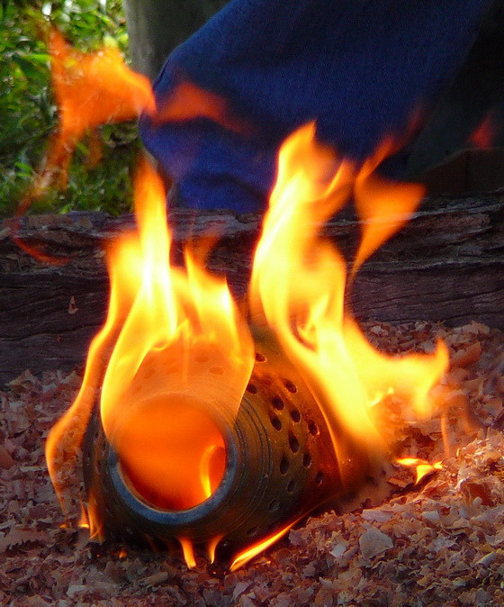 Raku flaming vase